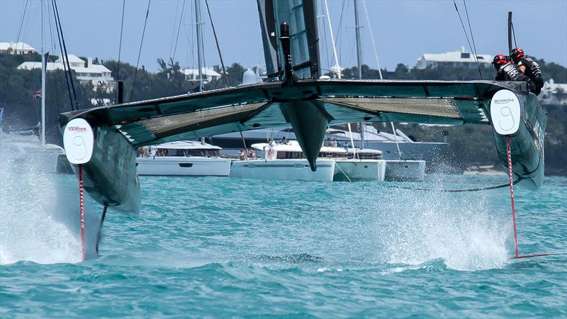 LandRover BAR lifts one rudder wing and is about to do the second  - triggering a spectacular nose dive - Day 2, Challenger Selection Series  Bermuda, May 27, 2017 - photo © Richard Gladwell / Sail-World.com