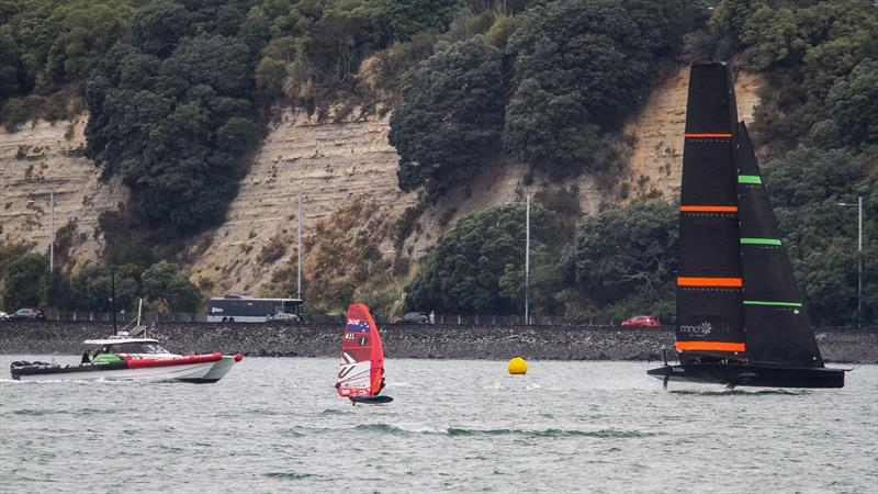 ETNZ's test boat is paced by a Windfoiler - March 2020 - Waitemata Harbour  - photo © Richard Gladwell / Sail-World.com