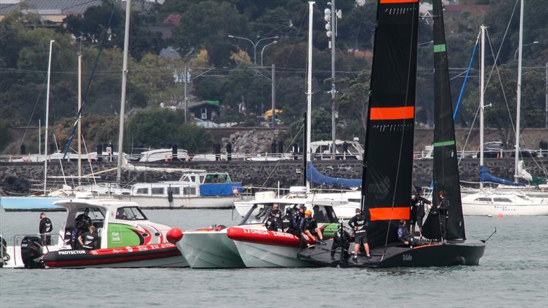 Waiting for the wind - Time out - Emirates Team New Zealand - March 2020 - Waitemata Harbour - photo © Richard Gladwell / Sail-World.com