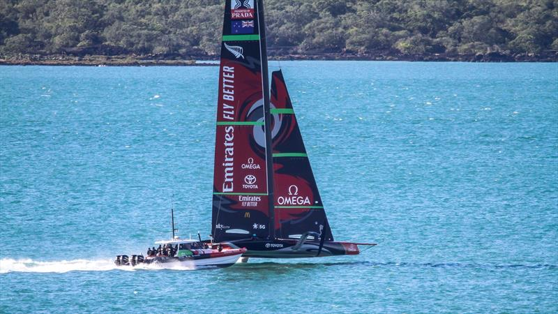 Emirates Team New Zealand's AC75, Te Aihe gets sailing again in Auckland - June 30, 2020 photo copyright Richard Gladwell / Sail-World.com taken at Royal New Zealand Yacht Squadron and featuring the AC75 class