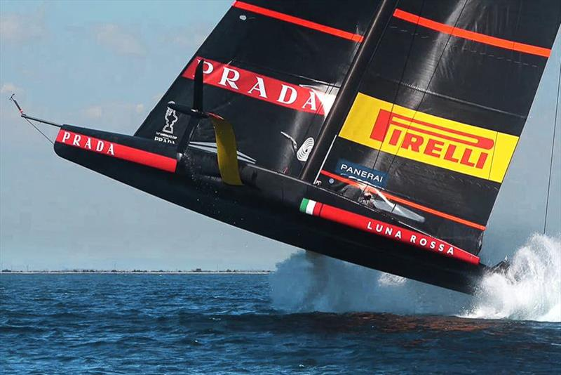 Luna Rossa performs a `sky leap` off Cagliari during training caused by crew error and an imbalance between the rudder wing and foil wing. Luna Rossa fell back into the water and continued sailing. America's Cup  36 - photo © Carlo Borlenghi / Luna Rossa