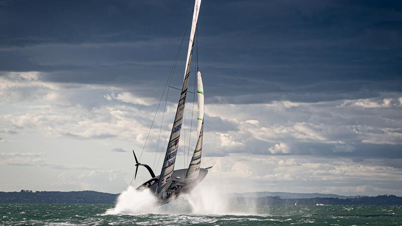 American Magic's Patriot jumps clear of the water on its maiden sail in 20kt winds - October 16, 2020 - American Magic - New York Yacht Club - 36th America's Cup  photo copyright Will Ricketson/American Magic taken at New York Yacht Club and featuring the AC75 class