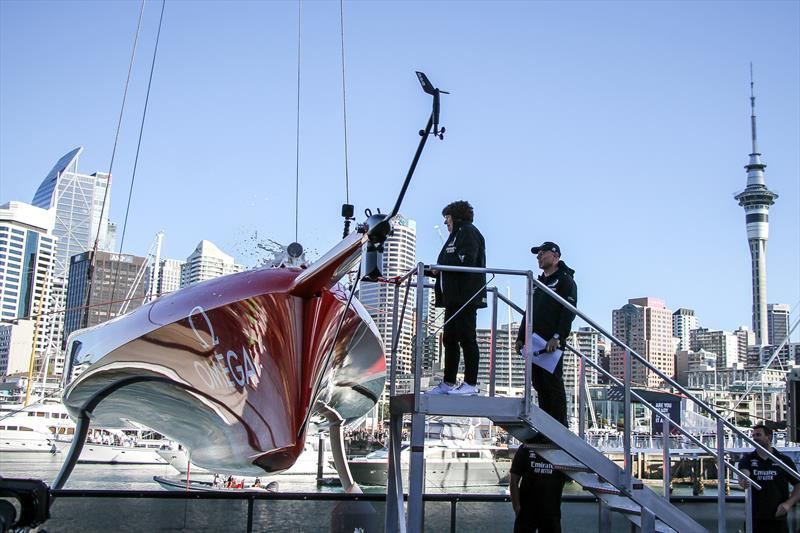 Lady Margaret Tindall christens Emirates Team New Zealand's America's Cup Defender Te Rehutai - November 18, 2020 - photo © Richard Gladwell / Sail-World.com
