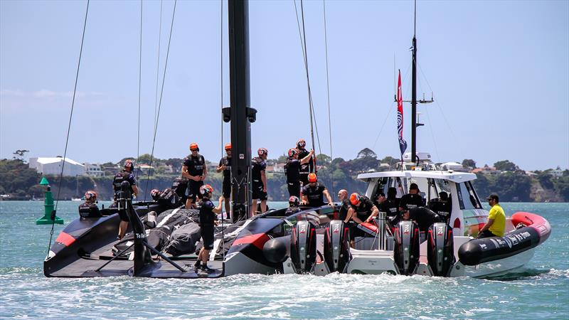 Emirates Team New Zealand head out - America's Cup World Series - Day 3 - Waitemata Harbour - December 19, 2020 - 36th Americas Cup presented by Prada - photo © Richard Gladwell / Sail-World.com