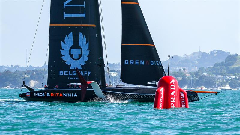 INEOS Team UK off her foils - America's Cup World Series - Day 3 - Waitemata Harbour - December 19, 2020 - 36th Americas Cup presented by Prada - photo © Richard Gladwell / Sail-World.com