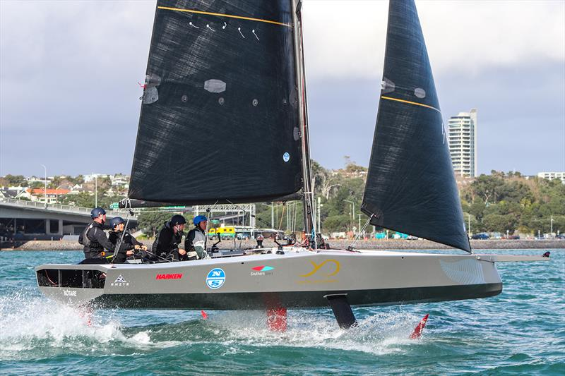 The AC9F is the 9m foiling monohull that the teams will race in the Youth America's Cup photo copyright Andrew Delves taken at  and featuring the AC9F class