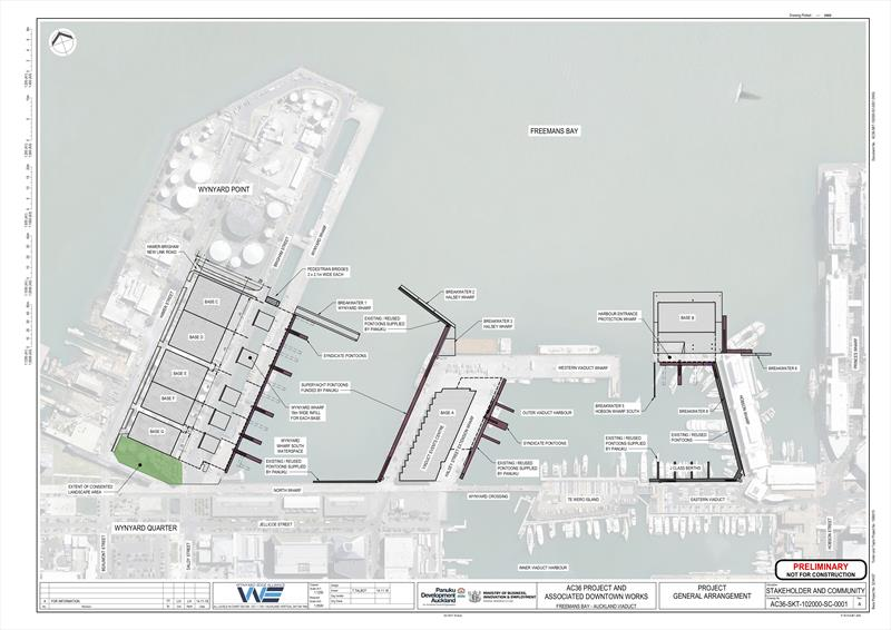Current project plan for the Hobson Wharf extensions, wave breaks and marina areas and base constuction on Wynyard Point - photo © Wynyard Edge Alliance