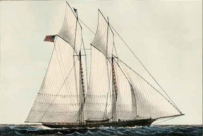 Hand colored lithograph of Schooner Yacht Cambria - photo © America's Cup