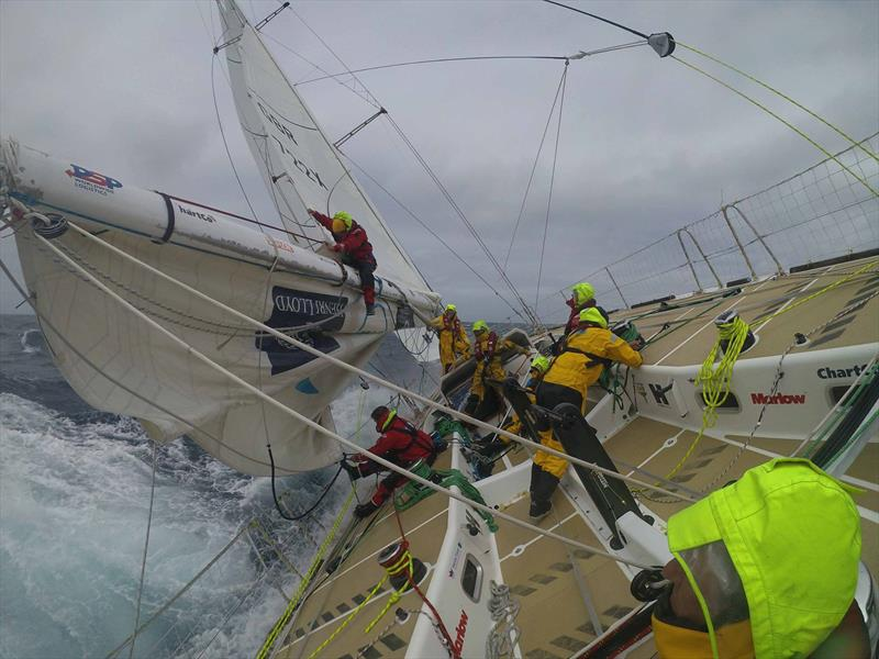 Reefing the mainsail in rough conditions in the Clipper Round the World Yacht Race - photo © Clipper Race