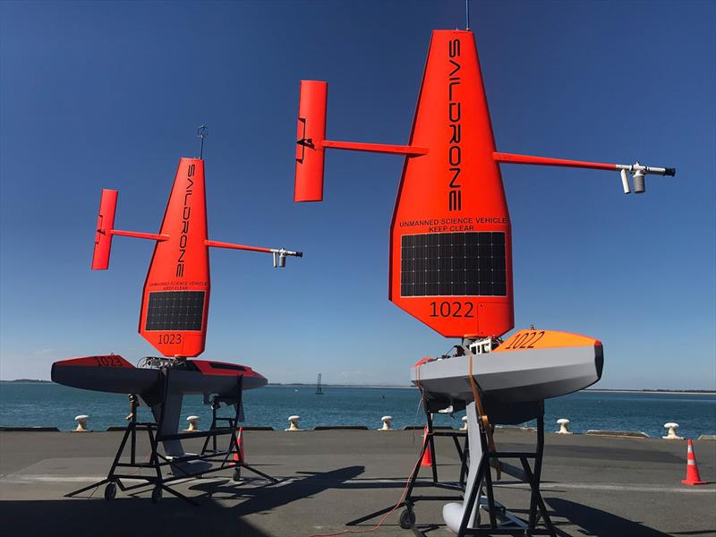 SD 1022 and SD 1023 with the standard Saildrone wing in Point Bluff, New Zealand, January 2019. - photo © Saildrone