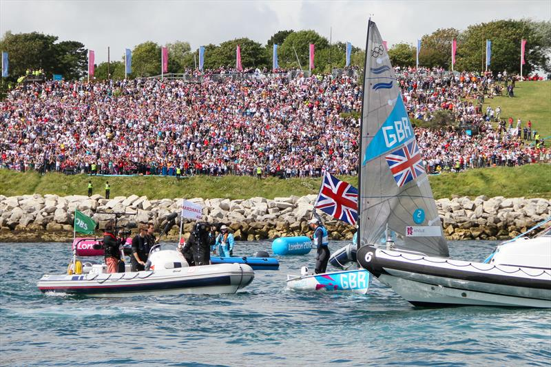 Now INEOS Team UK skipper Ben Ainslie, acknowledges the crowd on The Nothe, at the Weymouth Olympics 2012, where he won his fourth Olympic Gold medal - photo © Richard Gladwell / Sail-World.com