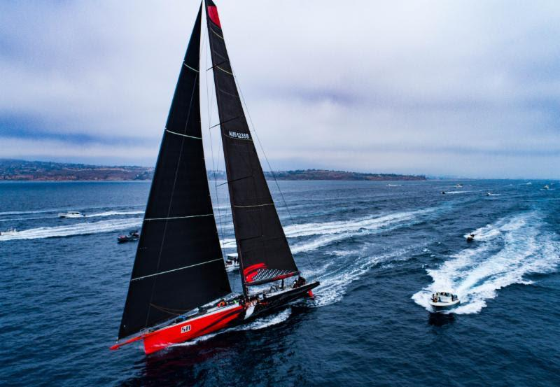Current race record holder Comanche had quite a following at the start - Transpac 50 - photo © Ronnie Simpson / Ultimate Sailing