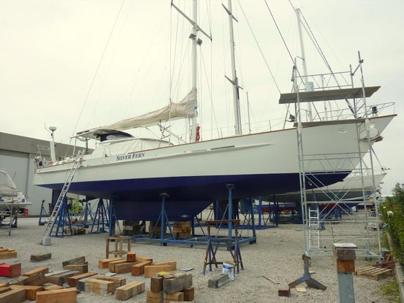 Silver Fern is painted and ready to go back in the water while in Italy - photo © Martha Mason