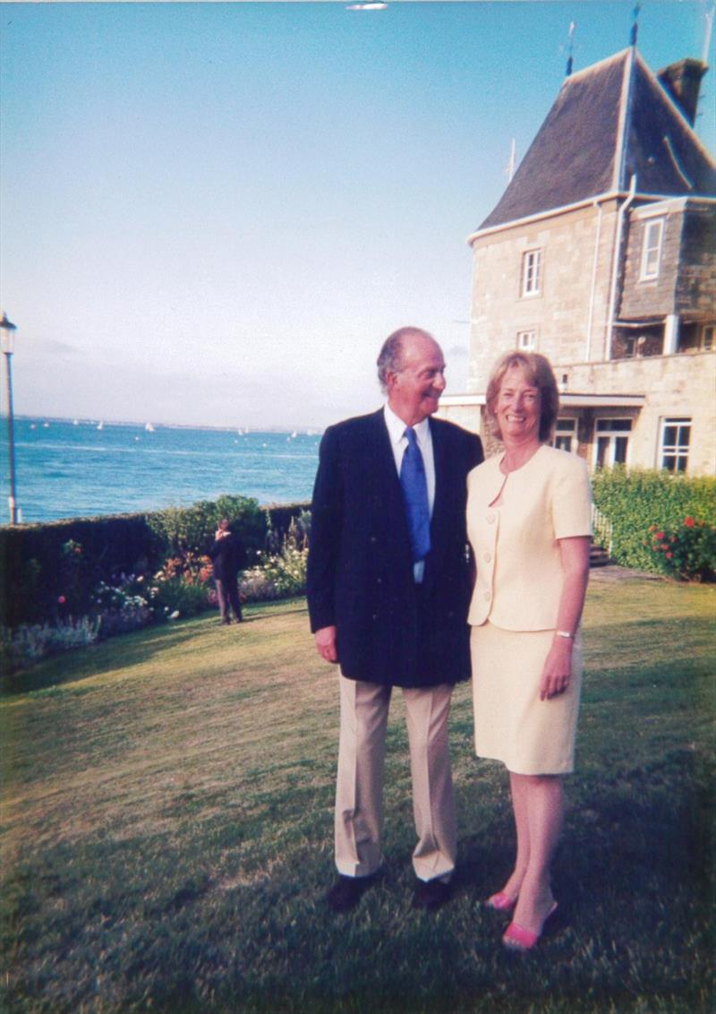 Janet Grosvenor has rubbed shoulders with Royalty, (pictured at the RYS with the King Juan Carlos of Spain), Prime Ministers and celebrities from all over the world, and has served 17 RORC Commodores, nine Admirals and countless Committee Members photo copyright RORC taken at Royal Ocean Racing Club