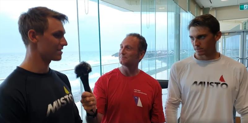 Jon Emmett interviews Benjamin and Jonatan Vadnai from Hungary about their battle for a spot at the Tokyo Olympics. photo copyright Laser 2020 Media taken at Sandringham Yacht Club