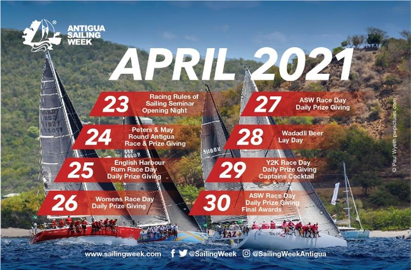 Antigua Sailing Week schedule - photo © Antigua Sailing Week
