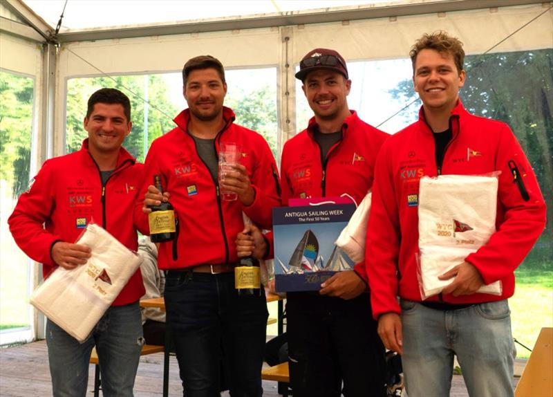 Third place host team from WYC were pleased with their prizes of English Harbour 5yr old rum - photo © Antigua Sailing Week
