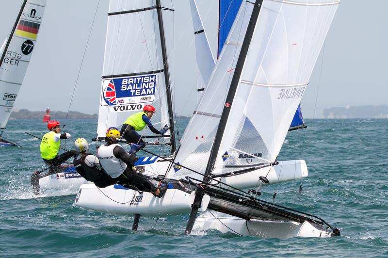 Mica Wilkson & Erica Dawson (NZL) - Nacra 17 - Hyundai Worlds - Day 4, December 6,, Auckland NZ - photo © Richard Gladwell / Sail-World.com