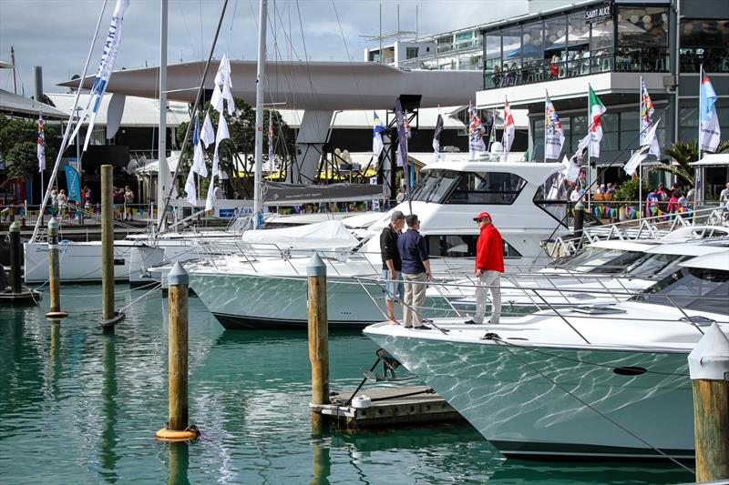 In the shadow of the Big Boat - Auckland On the Water Boat Show - Final day - October 6, 2019 - photo © Richard Gladwell