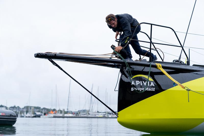 Apivia, the new IMOCA60 designed by Guillaume Verdier for Charlie Dalin (FRA) and aimed at the next Vendee Globe after her launching and fit-out at the former U-boat base in Lorient, France - photo © Maxime Horlaville