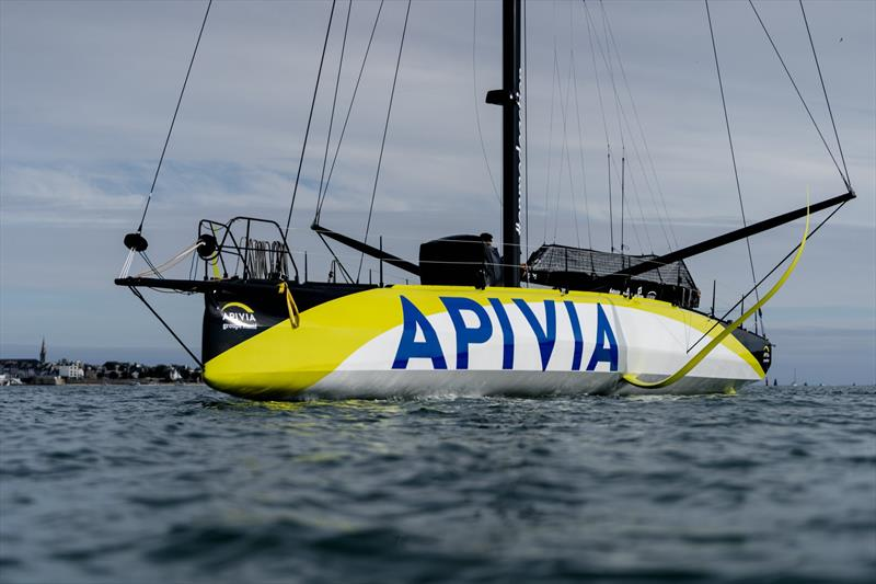 Apivia, the new IMOCA60 designed by Guillaume Verdier for Charlie Dahn (FRA) and aimed at the next Vendee Globe after her launching and fit-out at the former U-boat base in Lorient, France - photo © Yann Riou