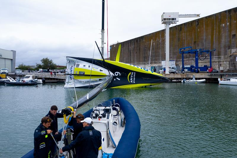 Pull-down test on Apivia, the new IMOCA60 designed by Guillaume Verdier for Charlie Dahn (FRA) and aimed at the next Vendee Globe after her launching and fit-out at the former U-boat base in Lorient, France - photo © Maxime Horlaville