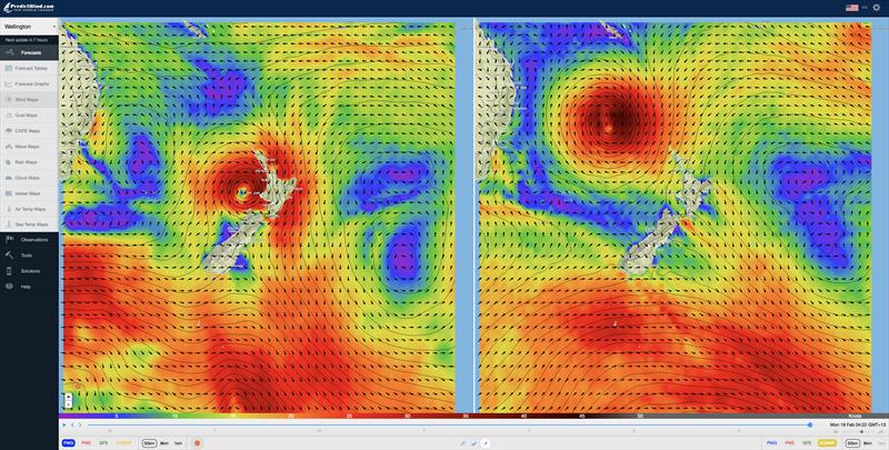 Predictwind showing Cyclone Gita cloing in on Wellington on Sunday 18 Feb, 2017 - photo © Predictwind.com