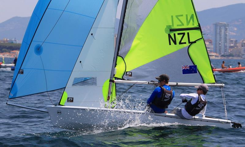 Blake Hinsley and Nicholas Drummond (NZL)  - Day 4 of the 2019 RS Feva World Championships, Follonica Bay, Italy photo copyright Elena Giolai / Fraglia Vela Riva taken at Gruppo Vela L.N.I. Follonica and featuring the RS Feva class