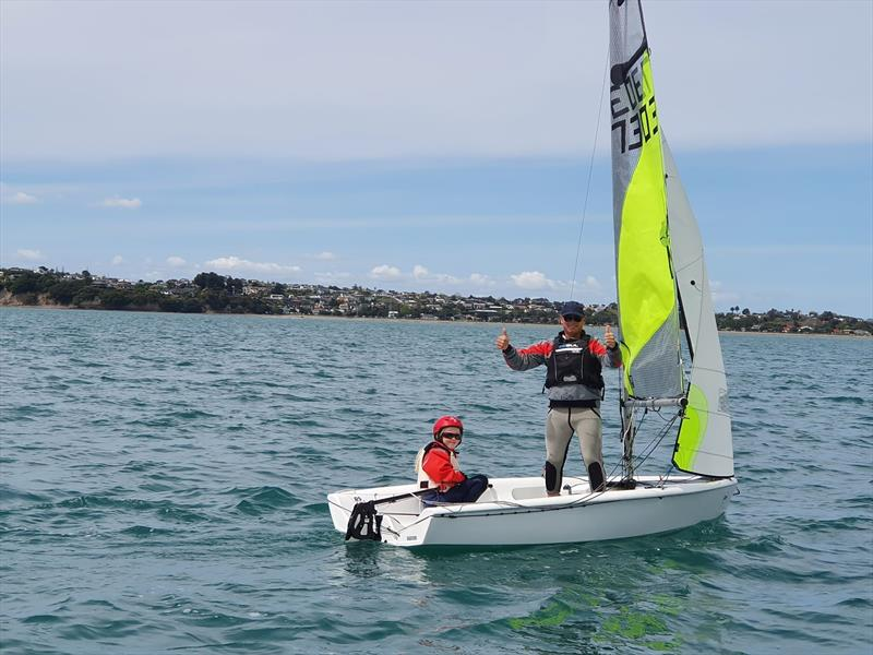 Annea (helm) and Wayne Avery - one of several family crews competing at the North Island RS Feva Championships at Manly SC, October 2019 - photo © NZ Sailcraft