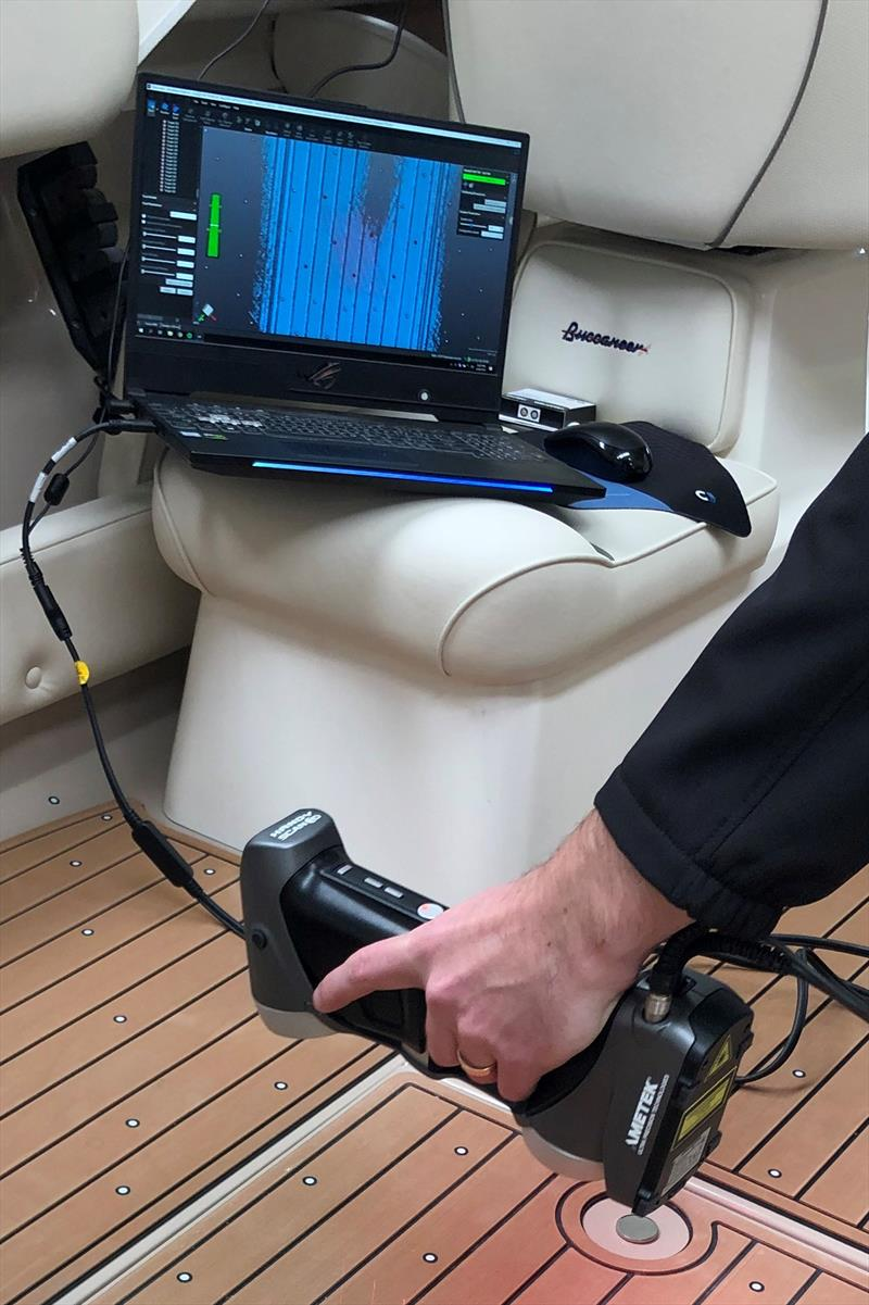 Demonstrating the use of the 3D scanner for U-DEK marine deck kits photo copyright Ultralon taken at  and featuring the  class