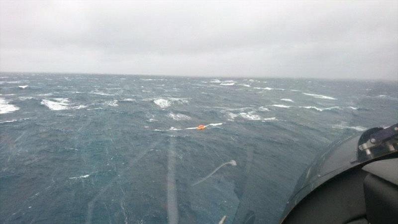 The liferaft is raked by five metre seas after the sailors yacht sank 20nm east of Cape Brett yesterday in winds gusting to 60kts. photo copyright Auckland Rescue Helicopter Trust taken at  and featuring the  class