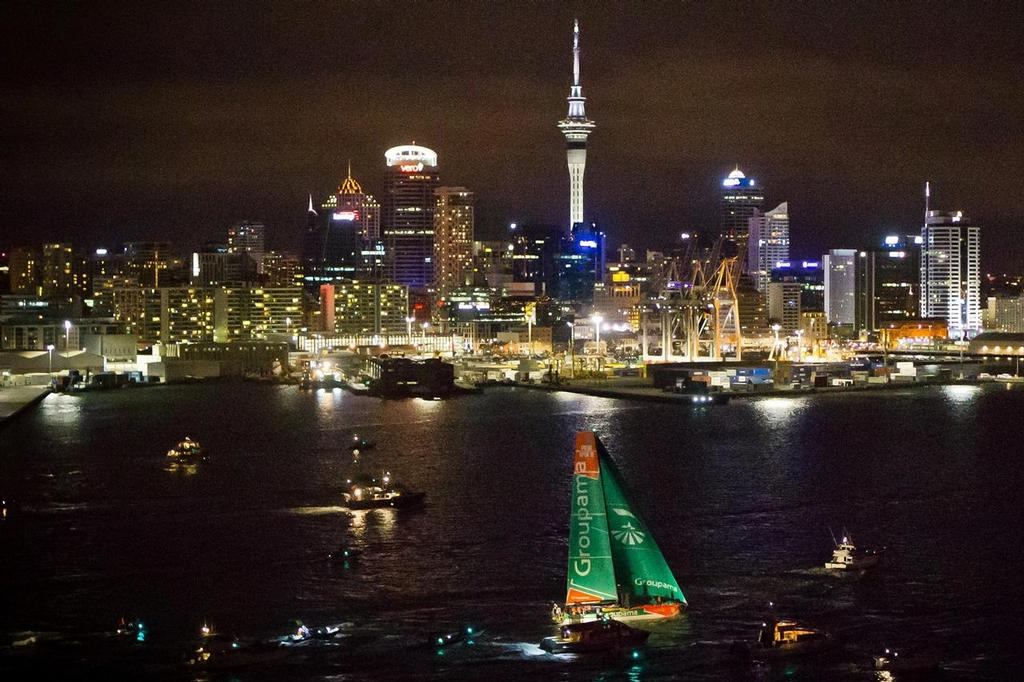 Groupama Sailing Team, skippered by Franck Cammas from France, finish first in to Auckland harbour at night, on leg 4 from Sanya, China to Auckland, New Zealand, during the Volvo Ocean Race 2011-12.  © Volvo Ocean Race http://www.volvooceanrace.com