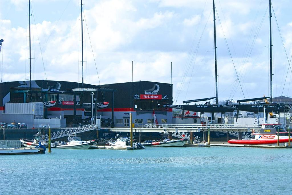 From the S-W Archives: Louis Vuitton Pacific Series - 2009 - The former IACC class yachts in front of the now former Alingi and Emirates Team NZ base - photo © Richard Gladwell www.photosport.co.nz