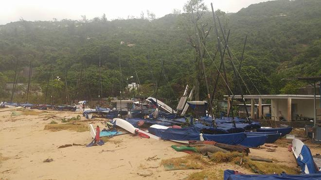 Hobie Beach, Tai Tam. The aftermath of Typhoon Hato. © Tong Shing