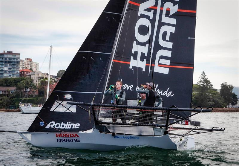 Beer o'clock for Honda Marine - the winner of Race 9 and the overall JJ Giltinan Championship - March 2019, Sydney Harbour photo copyright Michael Chittenden taken at Australian 18 Footers League and featuring the 18ft Skiff class
