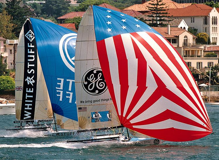 Mark Foy would have loved to see USA and UK boats competing against each other on Sydney Harbour photo copyright Frank Quealey taken at Australian 18 Footers League and featuring the 18ft Skiff class