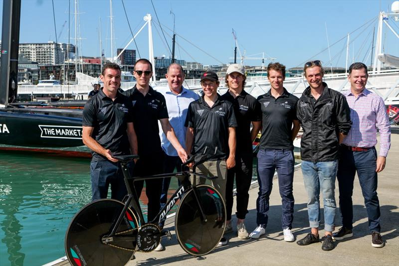 Southern Spars Mark Hauser (third from left) with the NZ Olympic Cycling team at the Emirates Team NZ base. Southern Spars designed and constructed new wheels for the NZ Olympic team - photo © Southern Spars