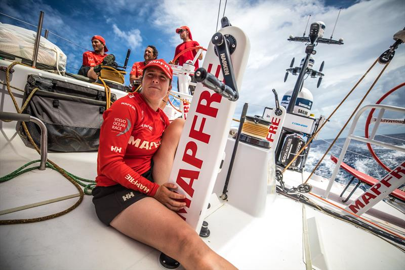 Leg 4, Melbourne to Hong Kong, day 12 on board MAPFRE, Tamara Echegoyen in stand by for trim. - photo © Ugo Fonolla / Volvo Ocean Race