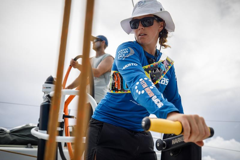 Leg 4, Melbourne to Hong Kong, day 12, birthday girl Hannah `Splashy` Diamond on the pedastal after turning 28 years old on board Vestas 11th Hour. - photo © Amory Ross / Volvo Ocean Race