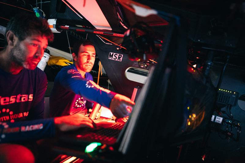 Leg 4, Melbourne to Hong Kong, day 12, Mark Towill and Simon Fisher `SiFi` dissecting the latest position reportt from the nav station on board Vestas 11th Hour. - photo © Amory Ross / Volvo Ocean Race