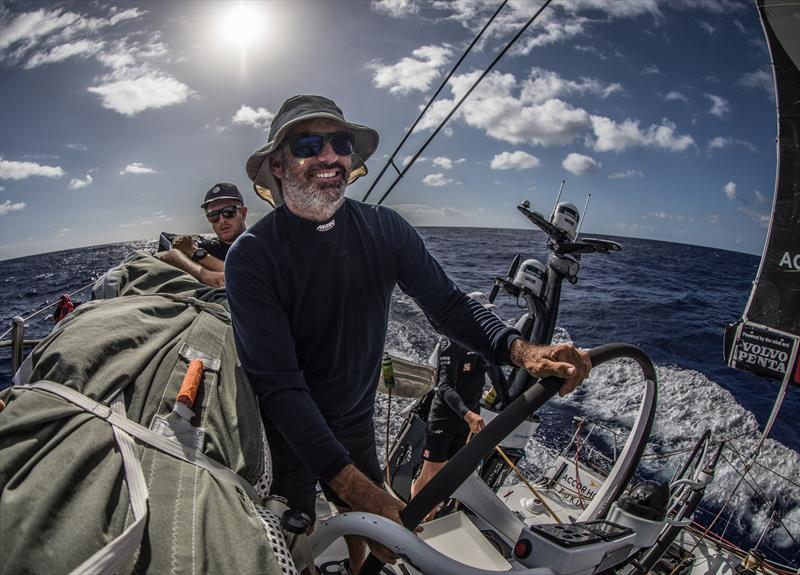 Leg 4, Melbourne to Hong Kong, day 15 Big smile on Grant Wharingtons face as the miles tick by and the lead remains on board Sun Hung Kai / Scallywag. - photo © Konrad Frost / Volvo Ocean Race
