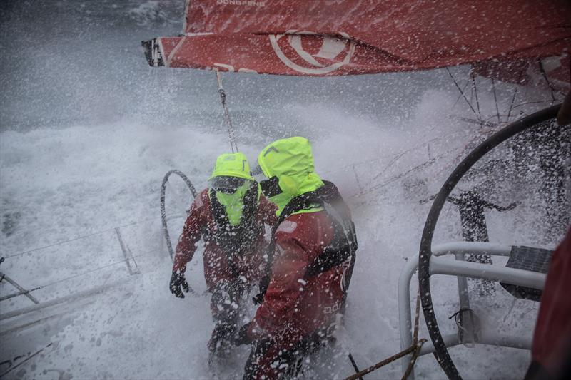 Leg 11, from Gothenburg to The Hague, day 03 on board Dongfeng. Water on deck for this last rough day of the race. 23 June, . - photo © Martin Keruzore / Volvo Ocean Race