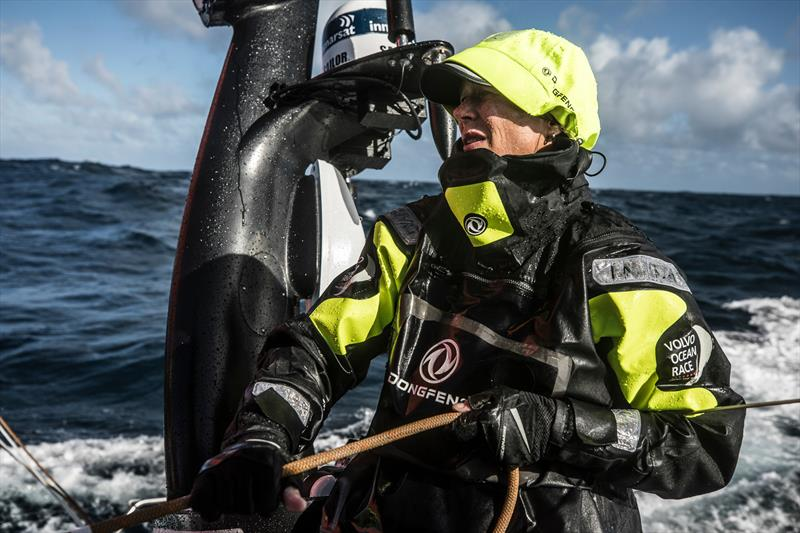 Leg 7 from Auckland to Itajai, day 04 on board Dongfeng. Carolijn Brouwer triming the main sheet. 19 March, . - photo © Martin Keruzore / Volvo Ocean Race