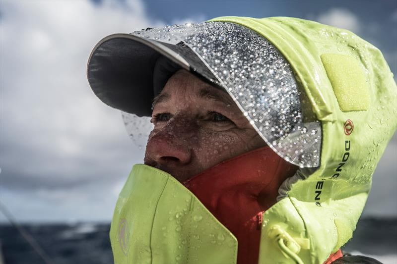 Leg 7 from Auckland to Itajai, day 10 on board Dongfeng. Carolijn Brouwer ready to fight the elements. 25 March, . - photo © Martin Keruzore / Volvo Ocean Race